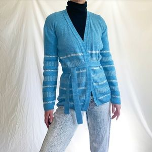 Vintage 1970s Blue Cardigan Sweater